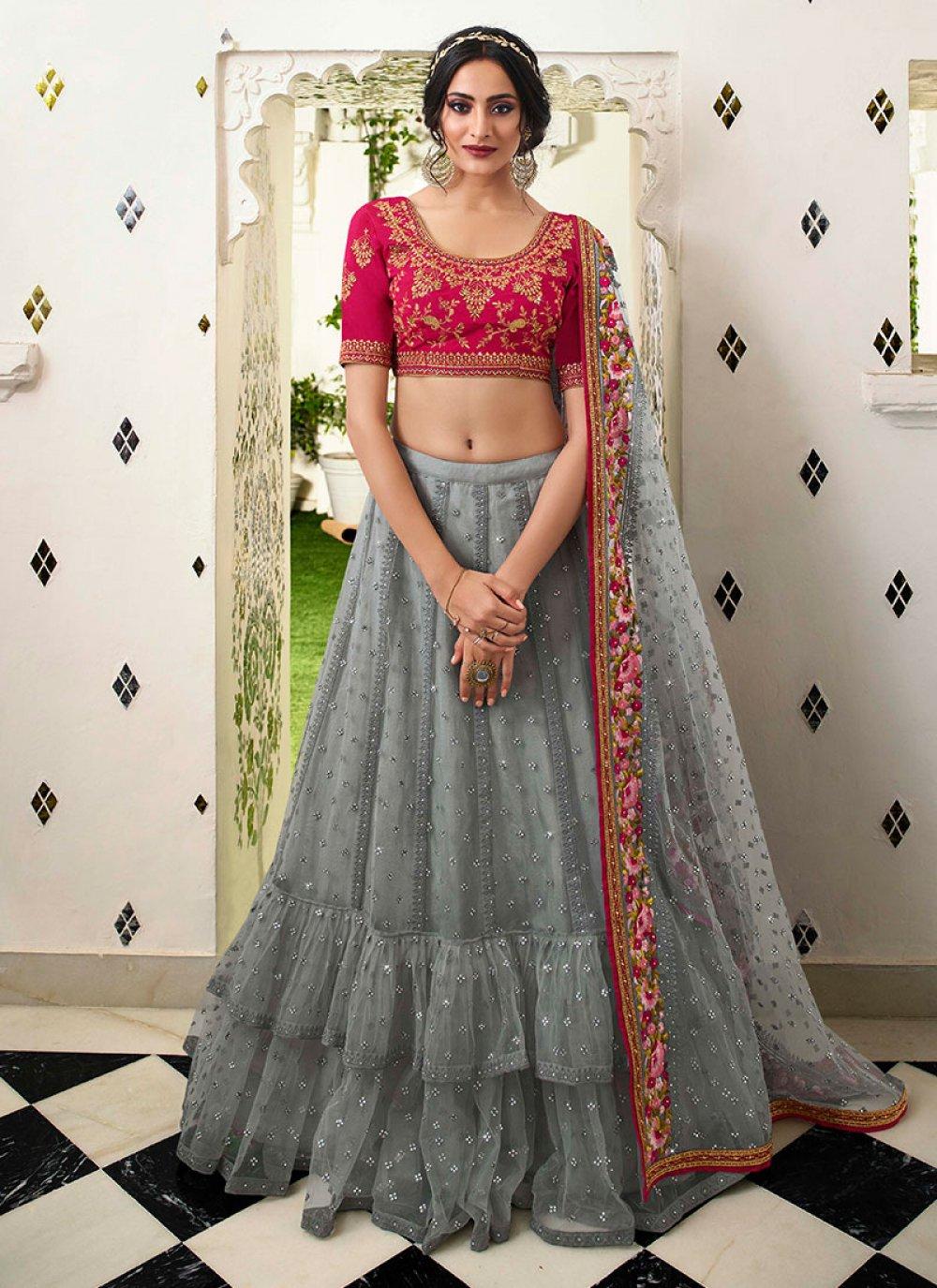 Grey Resham Wedding Lehenga Choli