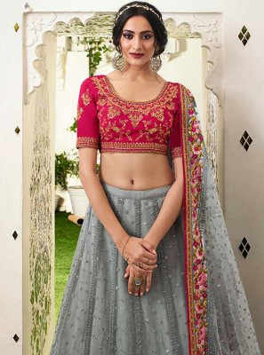 Grey Resham Wedding Lehenga Choli