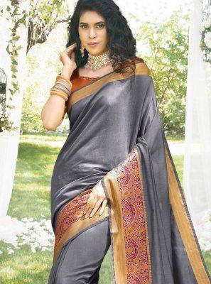 Grey Sangeet Art Silk Classic Saree