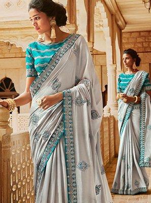 Grey Sangeet Satin Classic Designer Saree