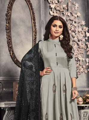 Grey Satin Party Trendy Anarkali Suit