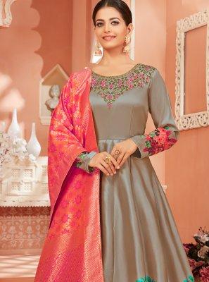 Grey Satin Silk Ceremonial Trendy Anarkali Salwar Suit