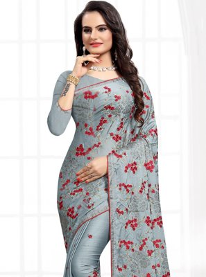 Grey Satin Silk Party Classic Saree