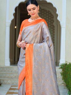 Grey Silk Ceremonial Traditional Saree