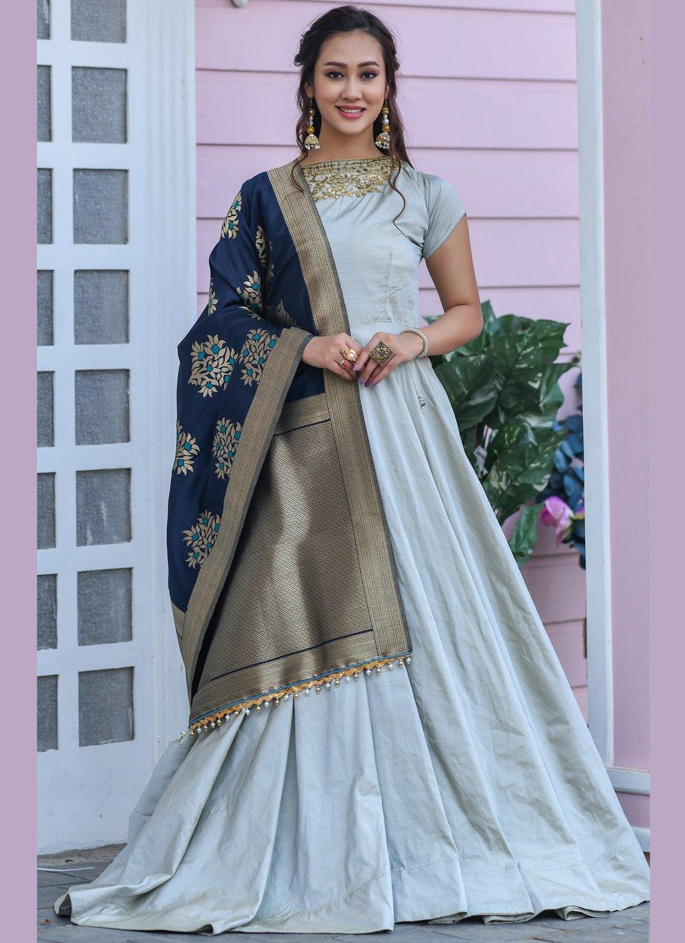 Grey Silk Ceremonial Trendy Gown