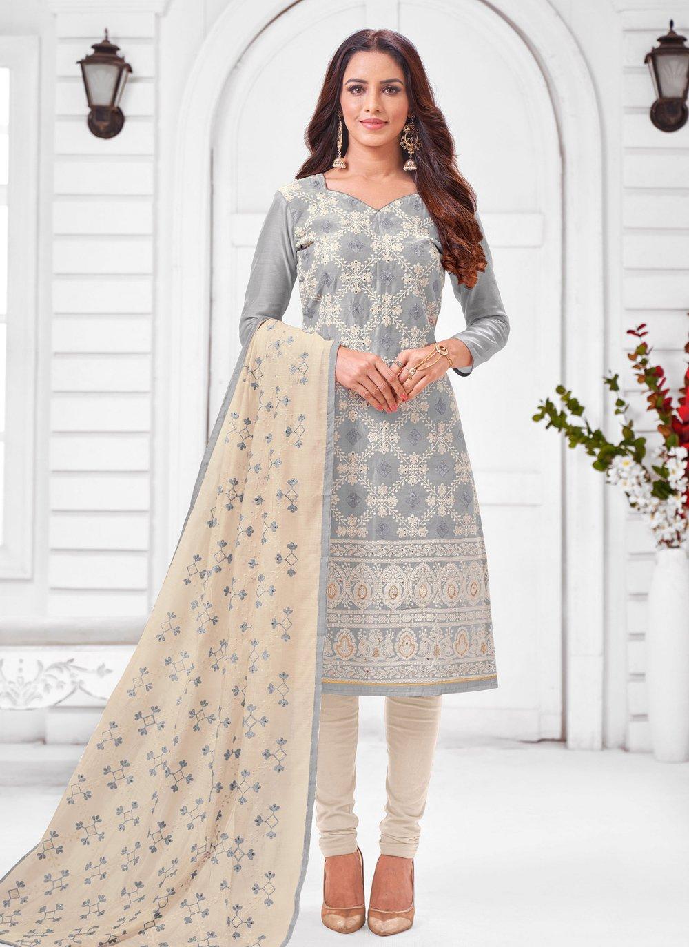 Grey Silk Designer Salwar Suit