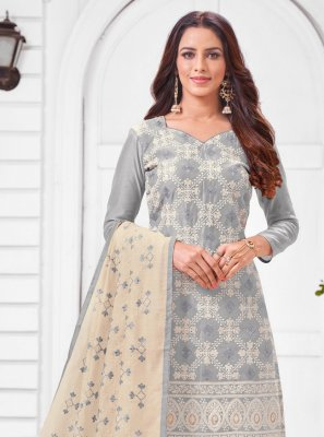 Grey Silk Designer Salwar Suit
