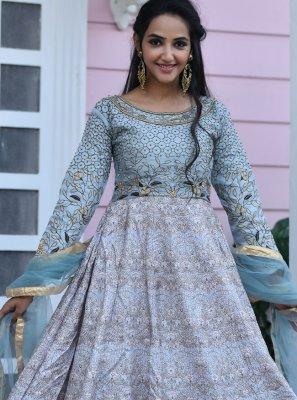Grey Silk Embroidered Designer Gown