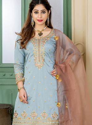 Grey Silk Embroidered Designer Palazzo Salwar Suit
