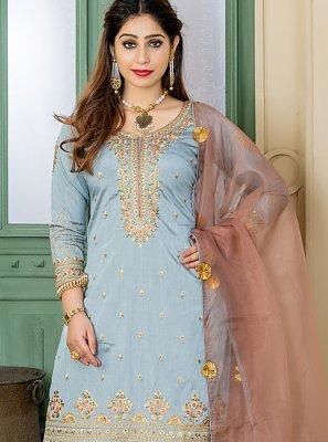Grey Silk Embroidered Designer Palazzo Salwar Suit