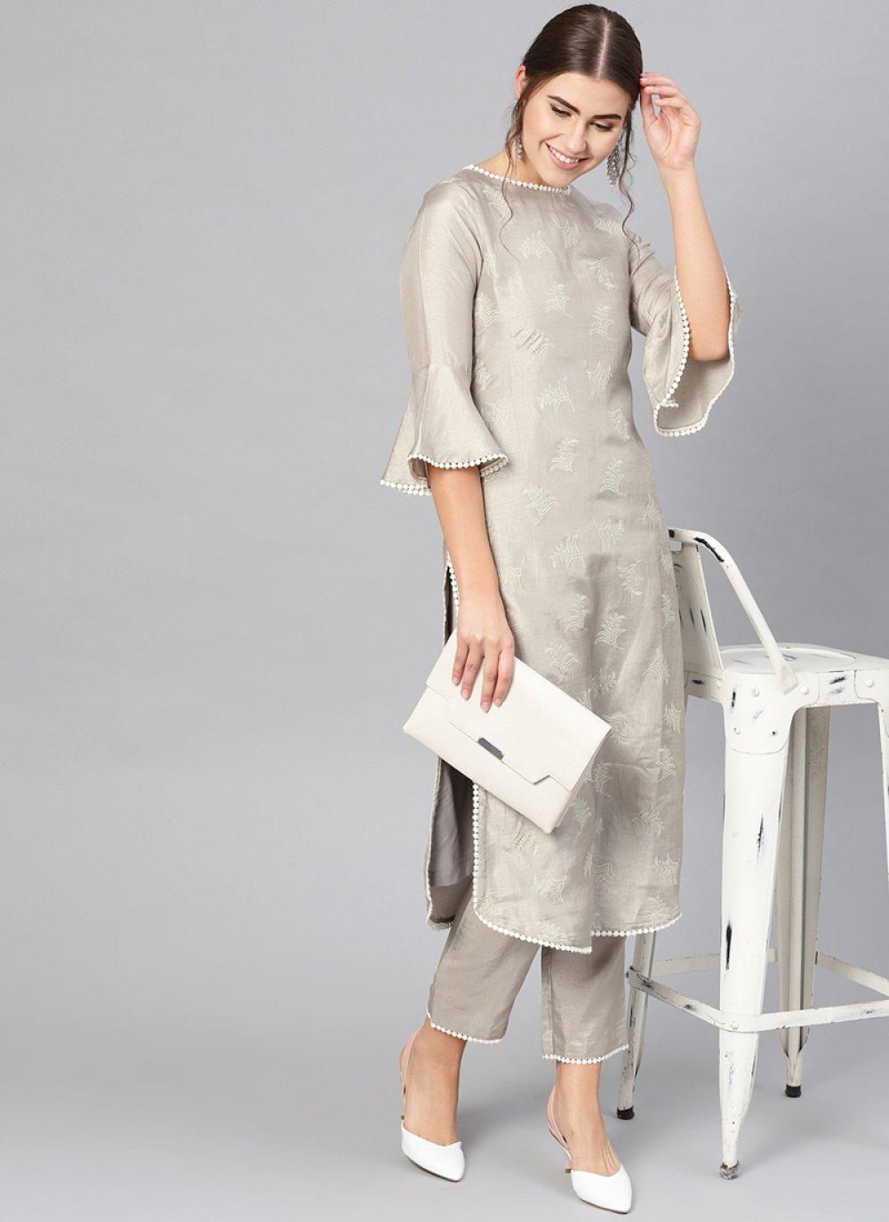 Grey Silk Pant Style Suit