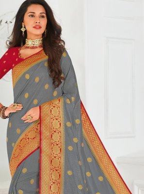 Grey Silk Party Trendy Saree