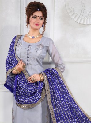 Grey Silk Resham Trendy Salwar Suit