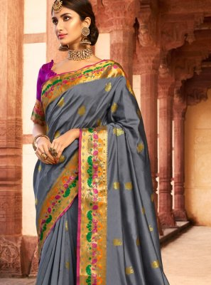 Grey Silk Silk Saree