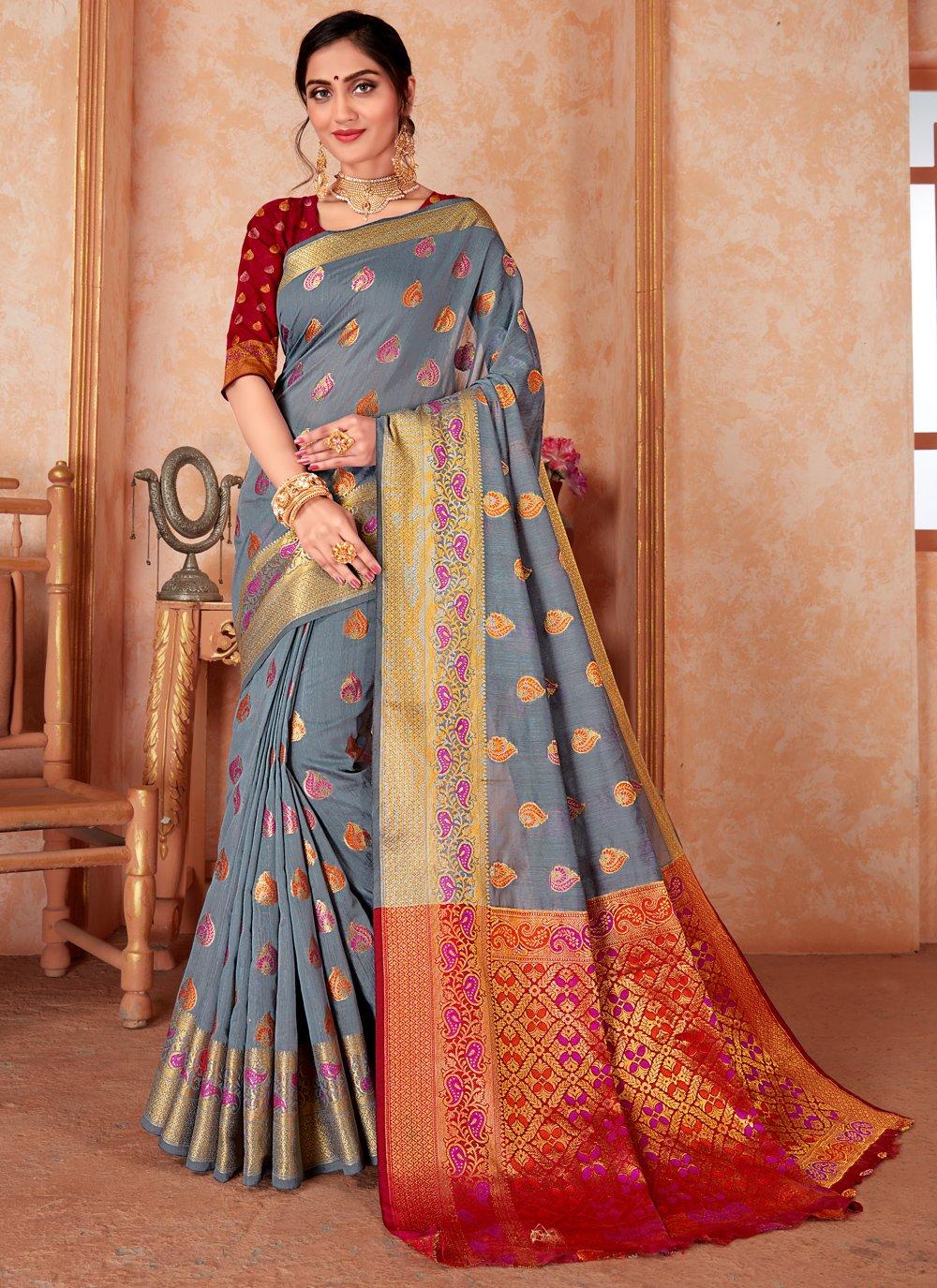 Grey Silk Traditional Designer Saree