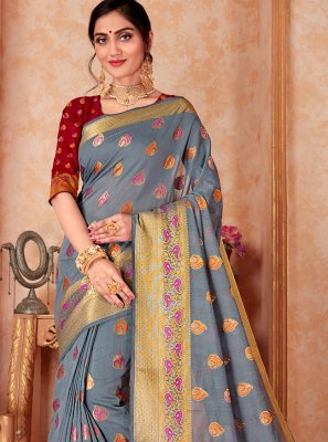 Grey Silk Traditional Designer Saree