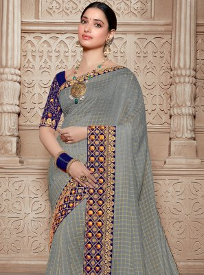 Grey Silk Trendy Saree