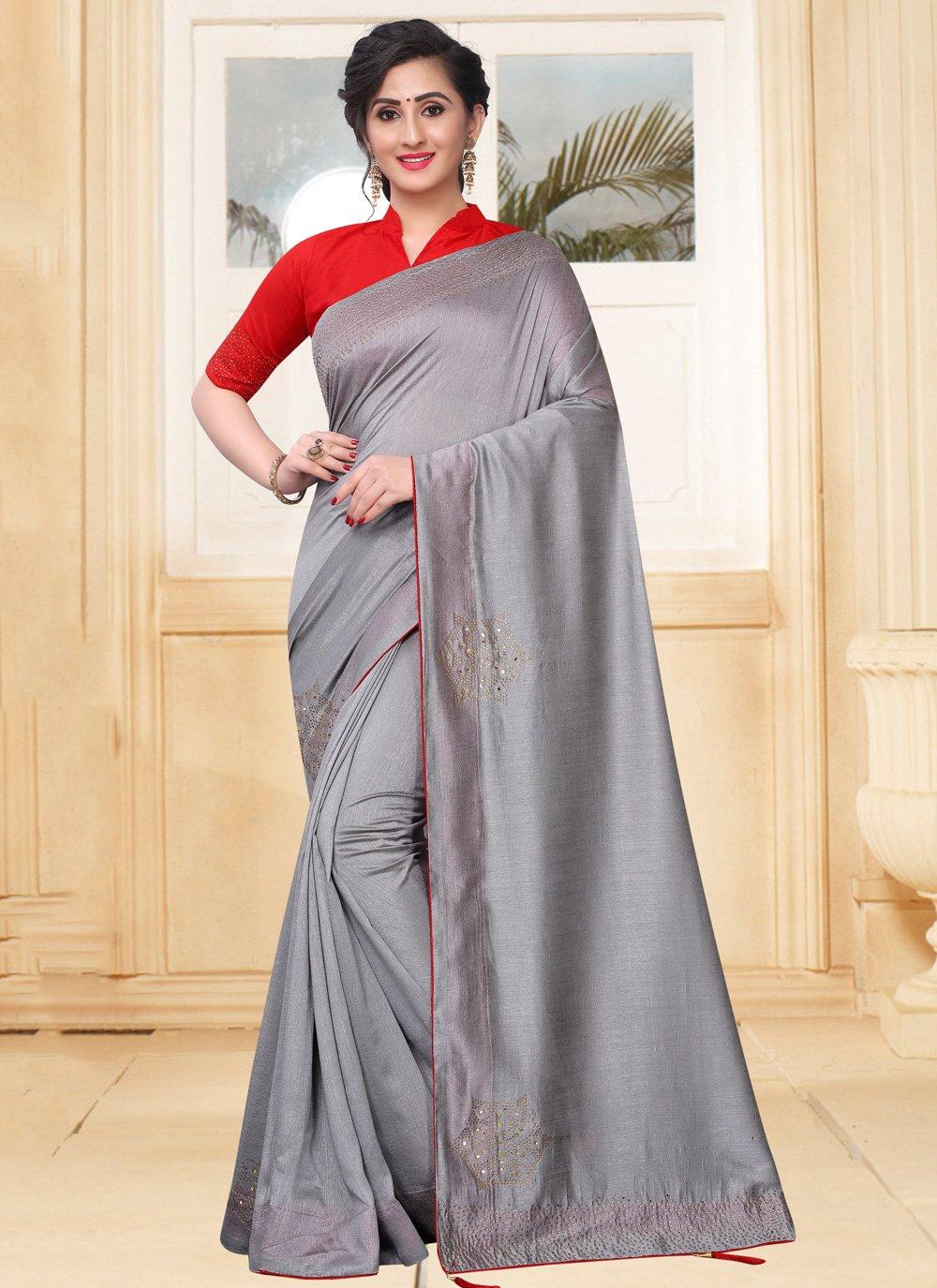 Grey Stone Traditional Saree