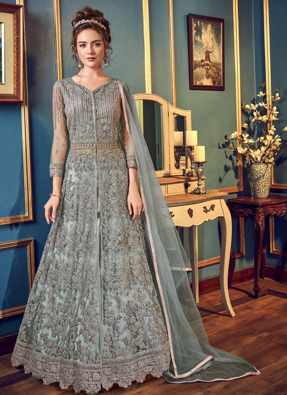 Grey Thread Work Bollywood Lehenga Choli