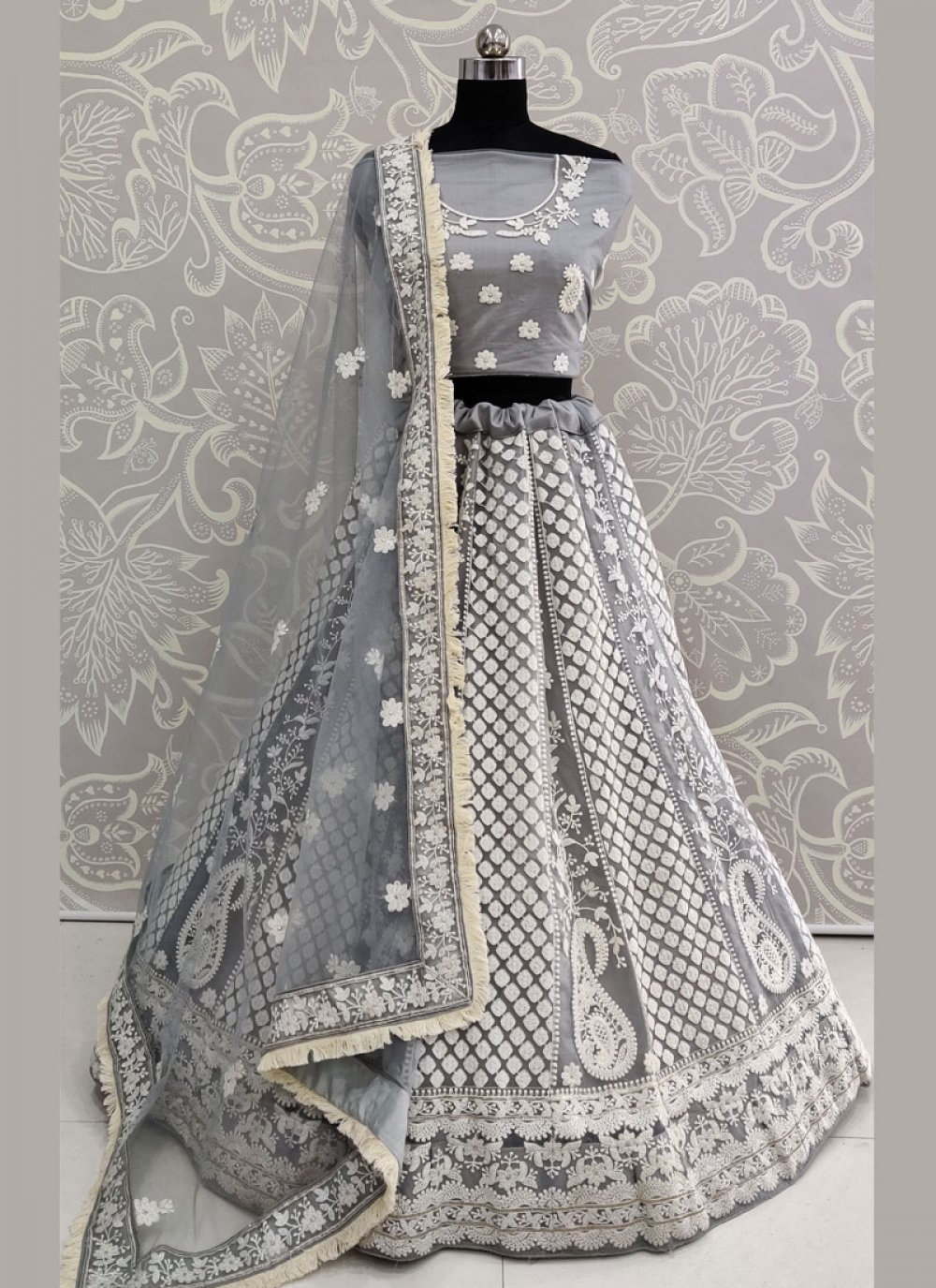 Grey Thread Work Lehenga Choli