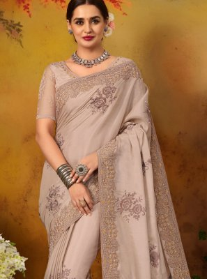Grey Thread Work Silk Silk Saree