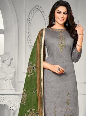Grey Trendy Straight Salwar Suit