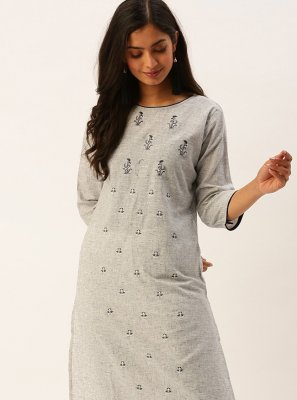 Grey Viscose Party Party Wear Kurti