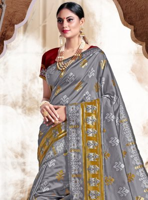 Grey Weaving Bollywood Saree