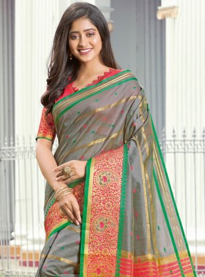 Grey Weaving Classic Saree