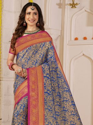 Grey Weaving Contemporary Saree