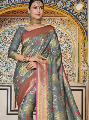 Grey Weaving Designer Traditional Saree
