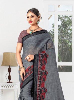 Grey Weaving Linen Casual Saree
