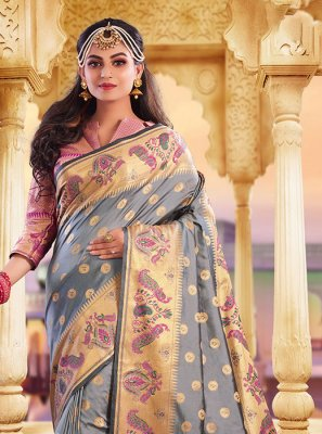 Grey Weaving Party Classic Designer Saree