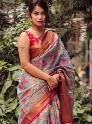 Grey Weaving Silk Silk Saree