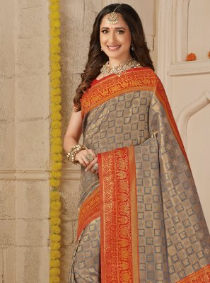 Grey Weaving Trendy Saree