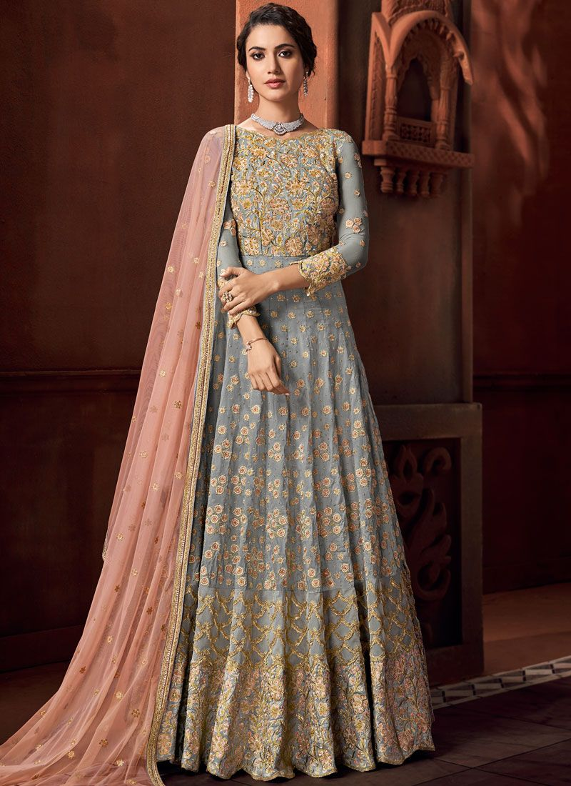 Grey Wedding Anarkali Salwar Kameez