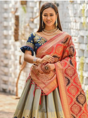 Grey Wedding Banarasi Silk Bollywood Lehenga Choli