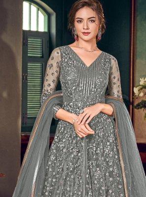 Grey Wedding Floor Length Anarkali Salwar Suit