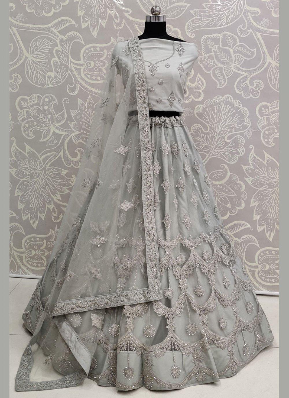 Grey Wedding Net A Line Lehenga Choli