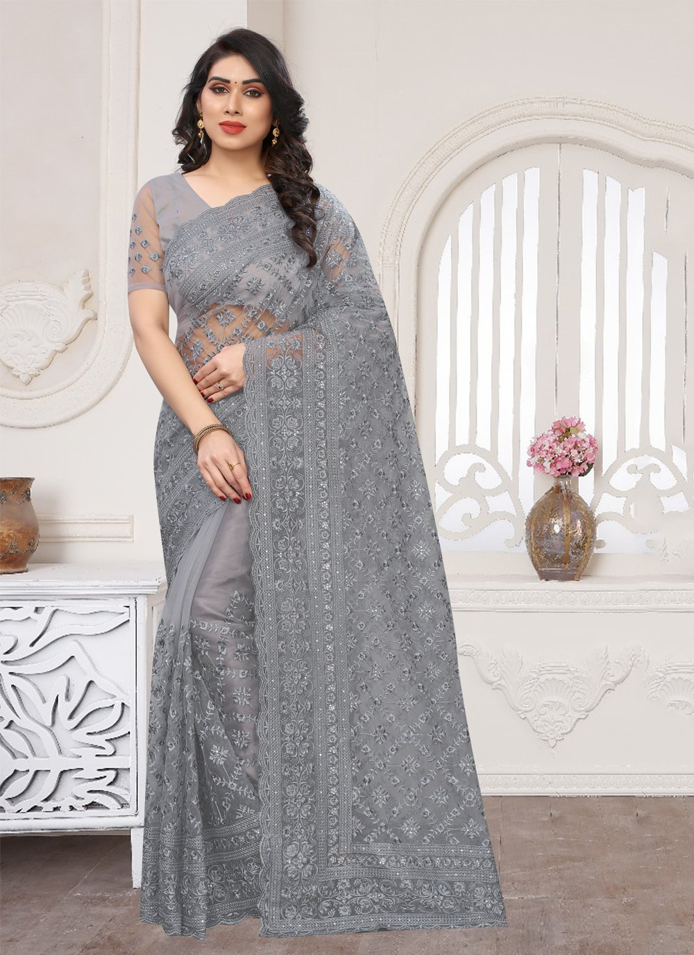 Grey Wedding Trendy Saree