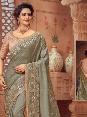 Grey Woven Designer Bollywood Saree
