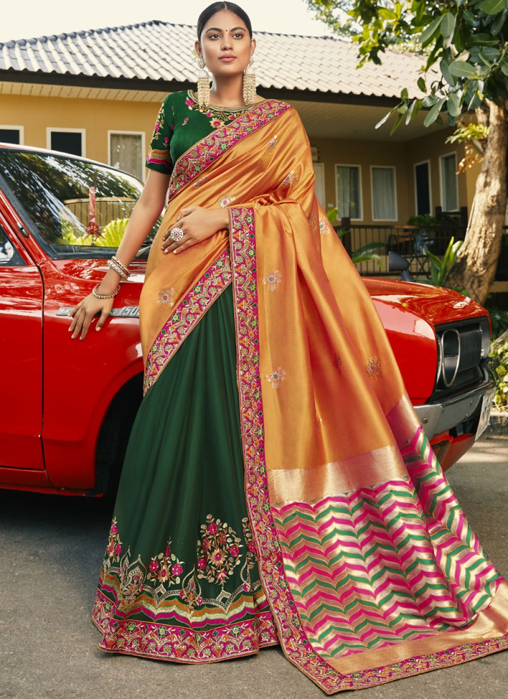 Half N Half  Saree Handwork Faux Georgette in Green and Orange