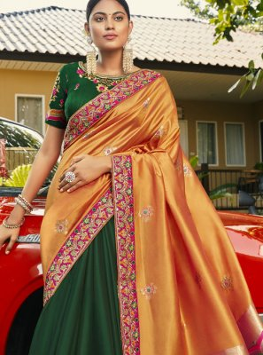 Half N Half  Saree Handwork Faux Georgette in Green and Orange