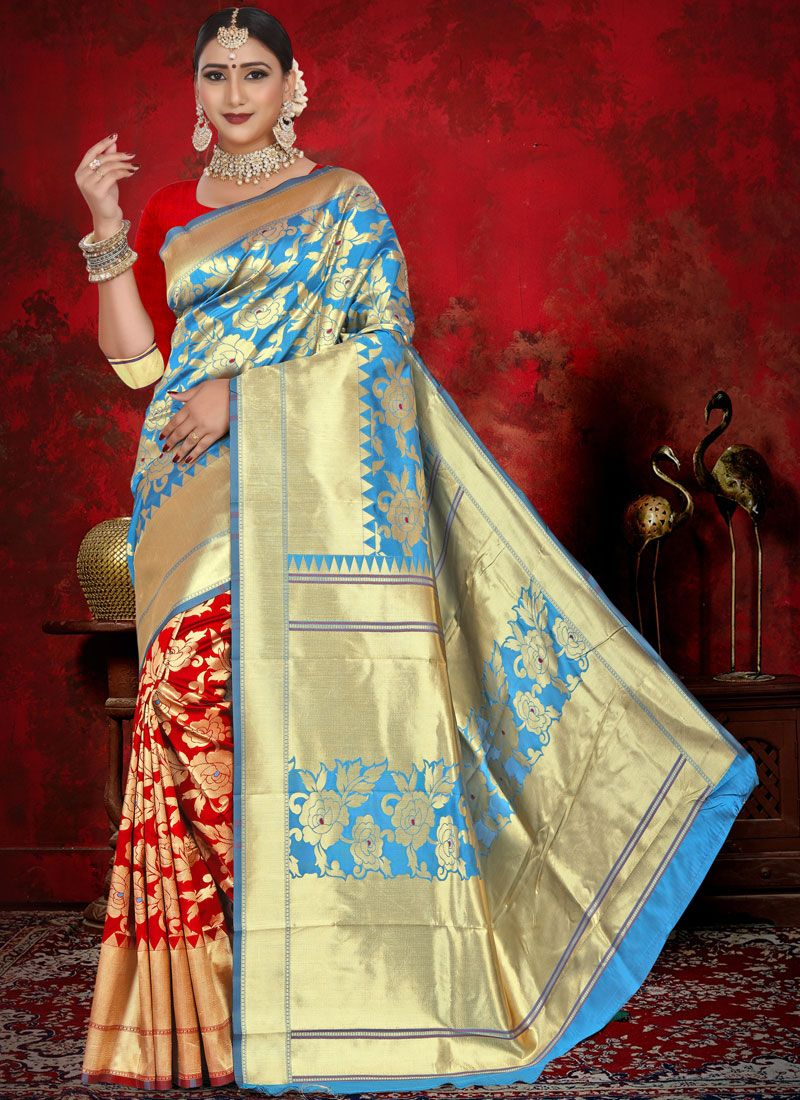 Half N Half  Saree Weaving Jacquard in Blue and Red