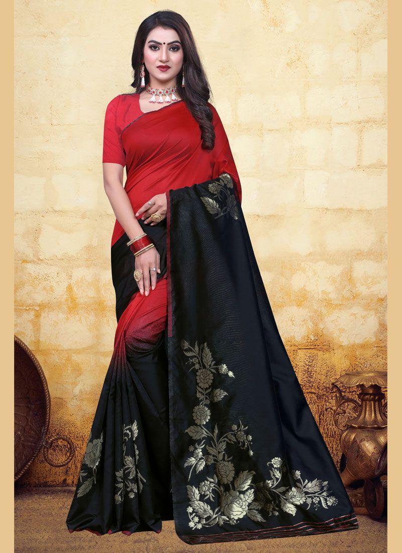 Half N Half Trendy Saree Woven Banarasi Silk in Black and Red