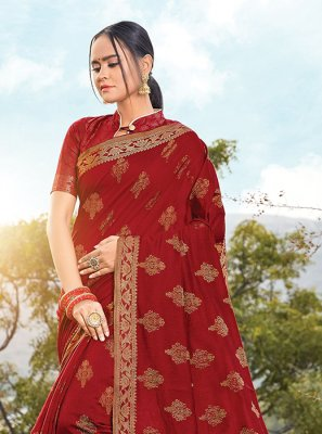 Handloom Cotton Designer Saree in Maroon