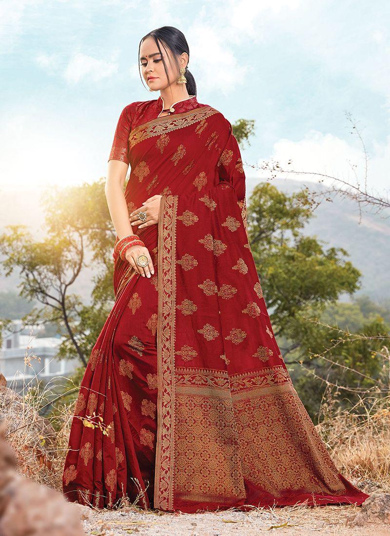 Handloom Cotton Designer Saree in Maroon
