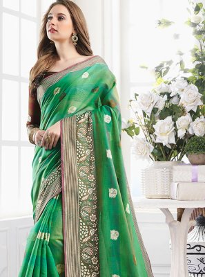 Handloom Cotton Green Classic Designer Saree