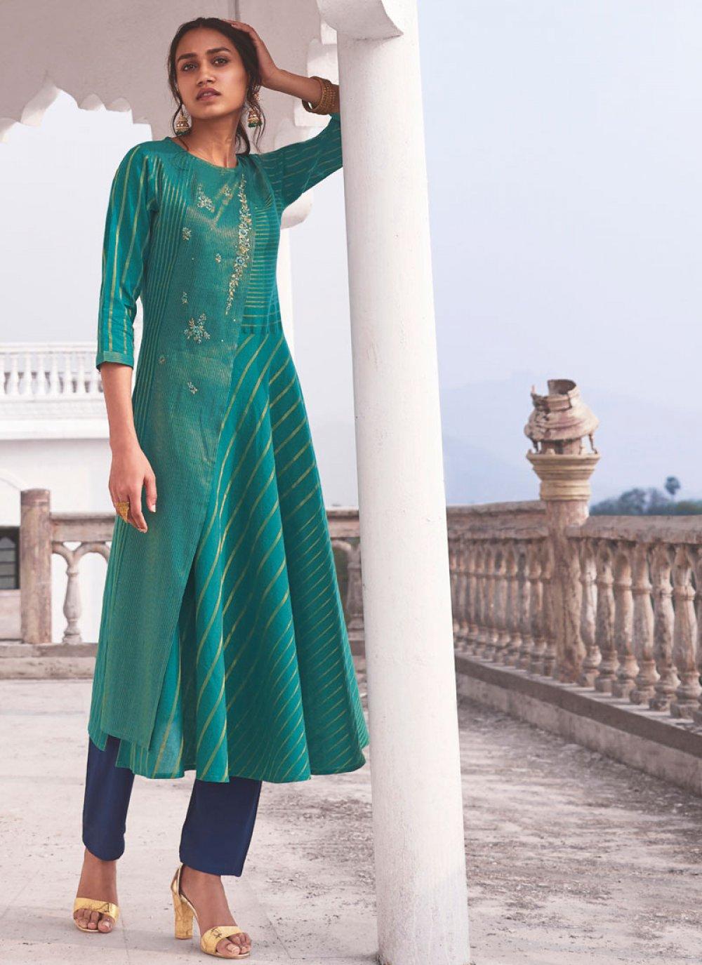 Handloom Cotton Green Embroidered Designer Kurti