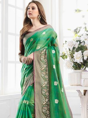 Handloom Cotton Mehndi Shaded Saree